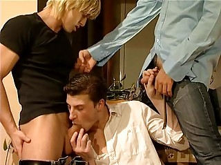 Three hot gay dudes having threesome sex action in living room