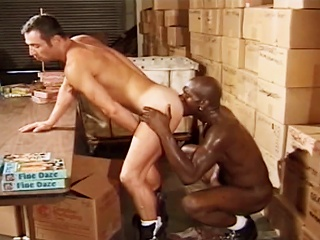 Guy sucks cock forwards fucking his hot affiliate alongside the Cooperative store at work...