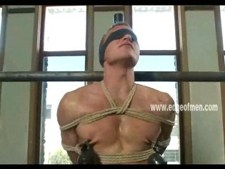 Dutiful uncaring panhandler has his nipples clamped while he is blindfolded and teased