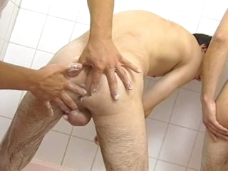 Naughty gay threesome surrounding go to the loo