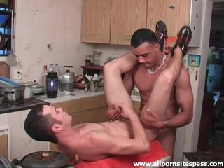 Big cock fills his ass almost kitchen
