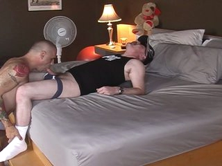 Horny fat pig daddy served by hot muscled gay blank out