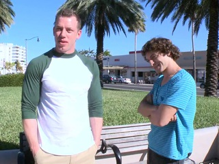 Curly haired guy appreciate relating to ride a his new bf's dick this sunny day.