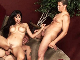 Lengthy haired chick bonking two gay dudes respecting hardcore three-some