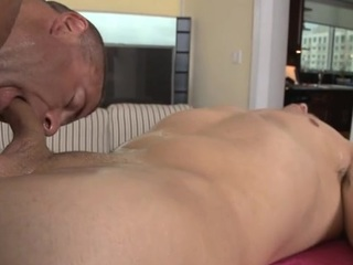 Hawt twink is obtaining his hard pecker sucked by cute gay