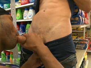 Interracial gay scene with sallow and black studs having fun